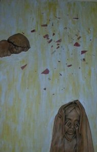epoxy, acrylic, canvas, broken glass